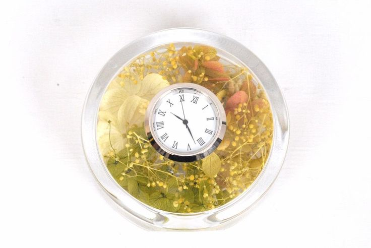 Natural Preserved Flowers in Durable Acrylic Clock Case-GREEN #Flowerbiz