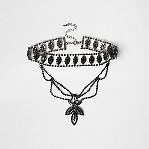 Embellished Multi Row Drop Choker from River Island R280,00