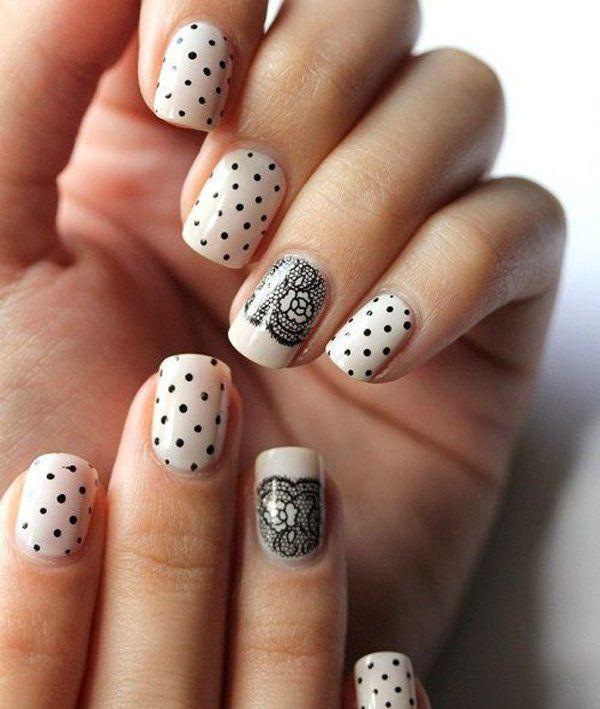 polka dots and lace nail art - 45+ Lace Nail Designs