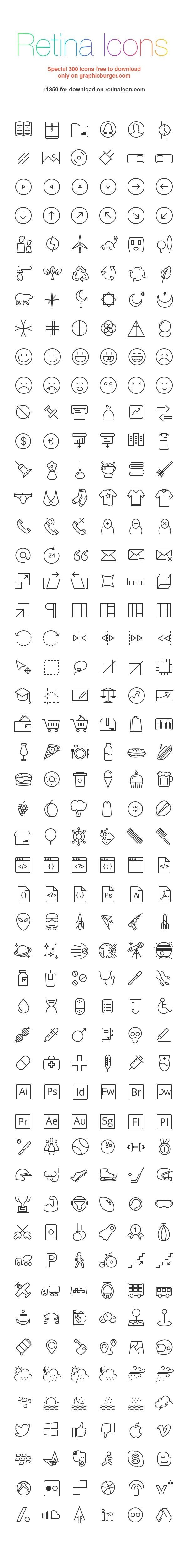 RetinaIcon: 300 Free Icons | GraphicBurger by Katybug
