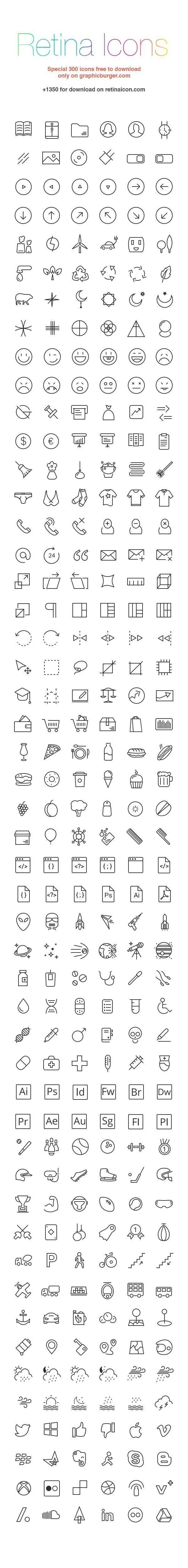 RetinaIcon: 300 Free Icons | GraphicBurger by Katybug
