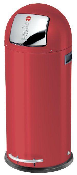 Hailo 0850-579  KickMaxx Waste Bin, Red, 50L