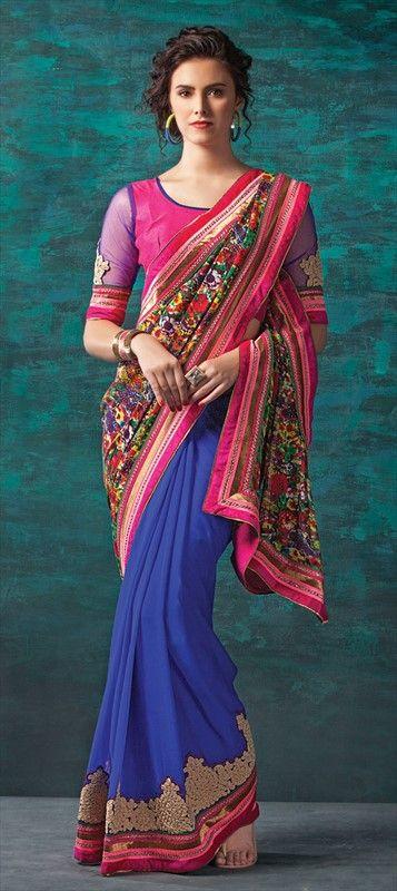 146506: #saree #Floral #Lace #Prints #partywear #GiftForHer #Onlineshopping #Festive #Ethnic #sale #blue #Indian #Wedding #Bridesmaid #sangeet #mehendi #designer