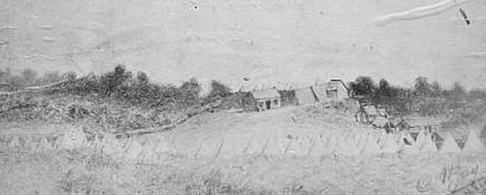 Bayly's Camp - Soldiers set up their tents on James Bayly farm at Tataraimaka.