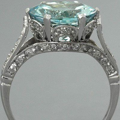 Aquamarine Engagement Ring Edwardian Style Platinum Diamonds