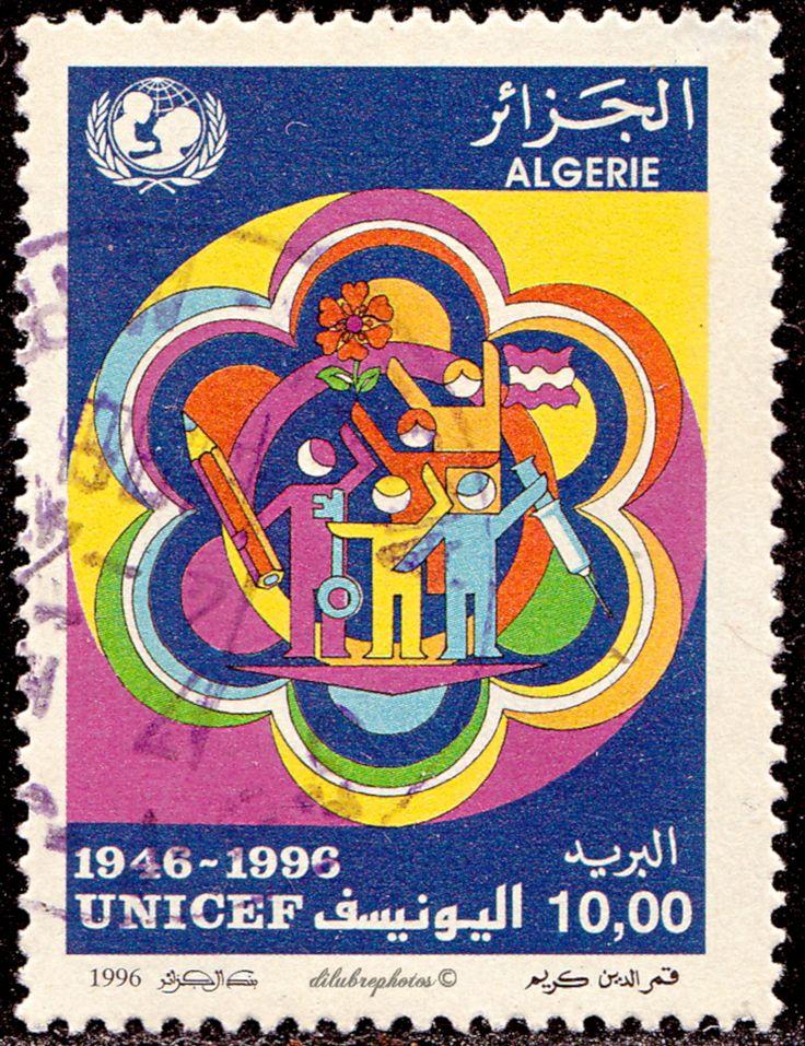 Algeria.   Stylized designs: Five children, pencil, key, flower, flag, hypodermic.  UNICEF, 50th Anniv. Scott 1078 A429, Issued 1996 Nov. 20,  Litho., Perf.13 1/2x14, 10d. /ldb.