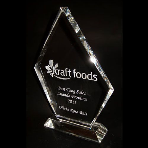 sandblasted crystal trophy for Kraft Foods.