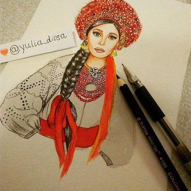 Моя україночка майже готова.#ukraine#Ukraine_girl#ukrainestyle#ukraine_beauty#fashionillustrator#drawings#like4like#yulia_dios#feshionista#feshionweek