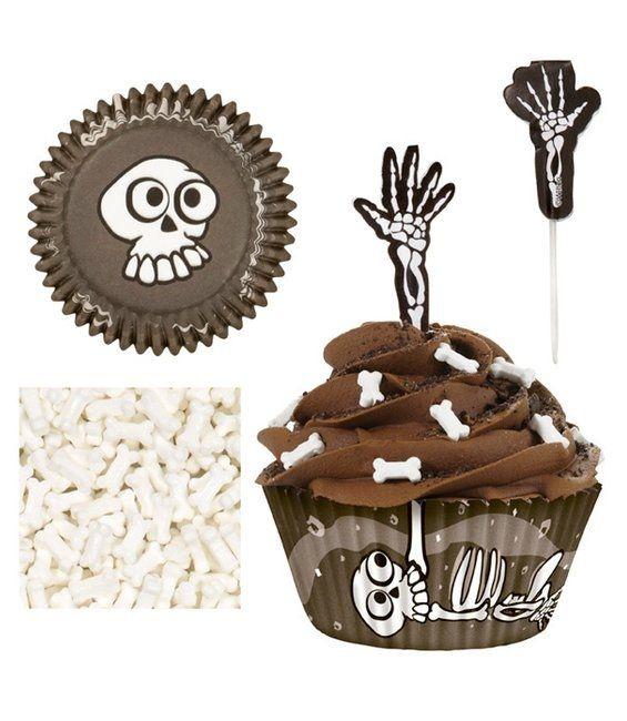 halloween cupcake decor skeletons spooky ideas bones