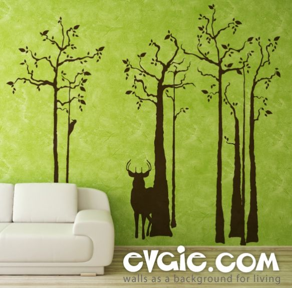 Deer Wall Decal Silhouette In The Forest Evgie Home
