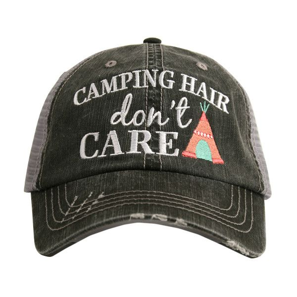 Katydid Collection Gray & Coral 'Camping Hair Don't Care' Trucker Hat ($17) ❤ liked on Polyvore featuring accessories, hats, gray cap, distressed cap, brim cap, gray hat and distressed hat