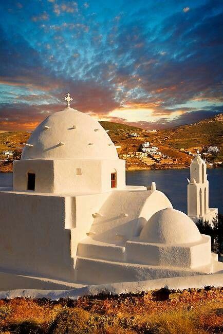 The Byzantine Church of Agia Irene ~ on the harbor of Ormos, Ios, Greece.