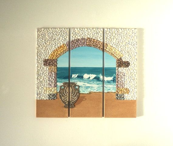 Acrylic Painting, Artwork with Seashells, Triptych of Large Archway & Urn in Seashell Mosaic on Sand, Mosaic Art, 3D Art Collage, Wall Decor, Home Decor #ArtworkwithSeashells #mosaiccollage #seashellmosaic #homedecor #walldecor #3D