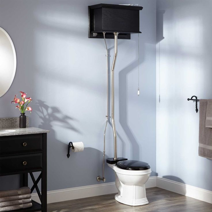 Black High Tank Pull Chain Water Closet with Round Victorian Bowl