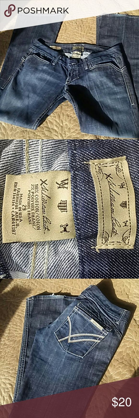 Women's William Rast Jeans Size 29 very nice, low on hips, wide leg.  Slight distress on bottom, see pic. William Rast Jeans Flare & Wide Leg