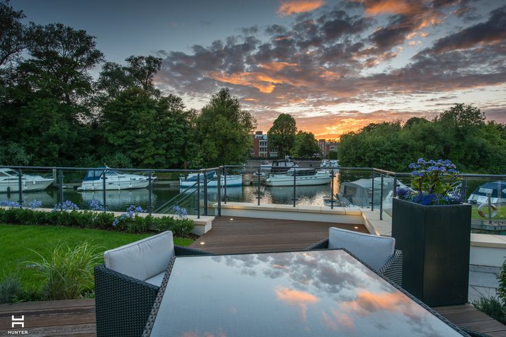 Taplow Riverside Marketing Suite www.hunter-design.co.uk  View of River Thames from terrace at sunset