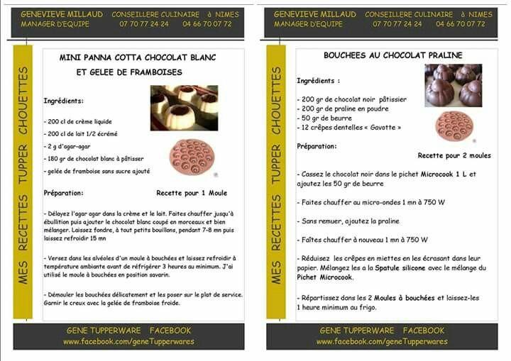 Tupperware : Mini pana cotta chocolat blanc framboise et mini bouchées chocolat
