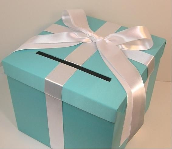 If Joyce does matching tiffany blue seating chart and table numbers, use tiffany box as wishing well