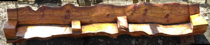"""Amazing bench engraved with a quote from """"The Giving Tree."""""""