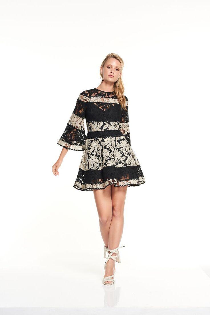 Talulah - Analog Mini Dress Black And White Lace