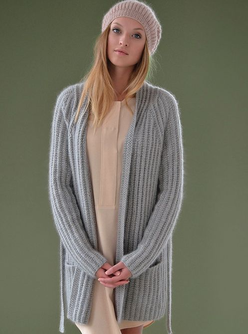 Comfort by Kim Hargreaves, from pattern book Still.  Knit in Rowan Kid Classic and Rowan Kidsilk Haze held together.