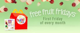McDonald's gives away free Apple & Grape Fruit Bags on the first Friday of each month