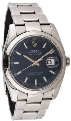 ROLEX OYSTER PERPETUAL DATEJUST WATCH  $3,950 by Rolex at TheRealReal  Available Colors: Available Sizes: DETAILS Men's stainless steel 35mm Rolex Oyster Perpetual Datejust automatic watch with smooth bezel, blue flat dial, silver-tone baton hands, silver-tone and luminous index hour markers, cyclops calendar aperture at 3 o'clock position, fluted push/pull crown, stainless steel bracelet and foldover deployment closure. Includes box.