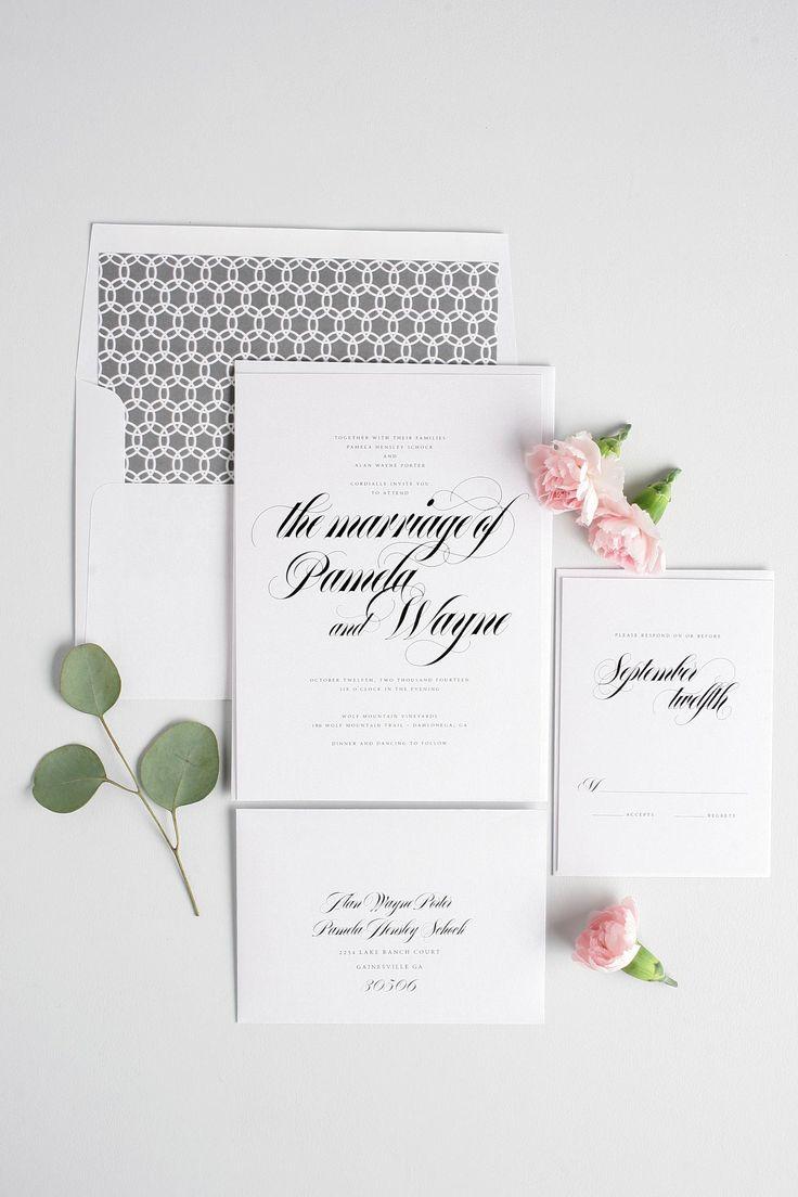 Bold calligraphy wedding invitations in gray