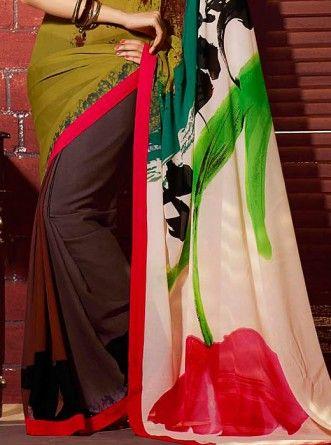 Artful Georgette Multi Color Saree