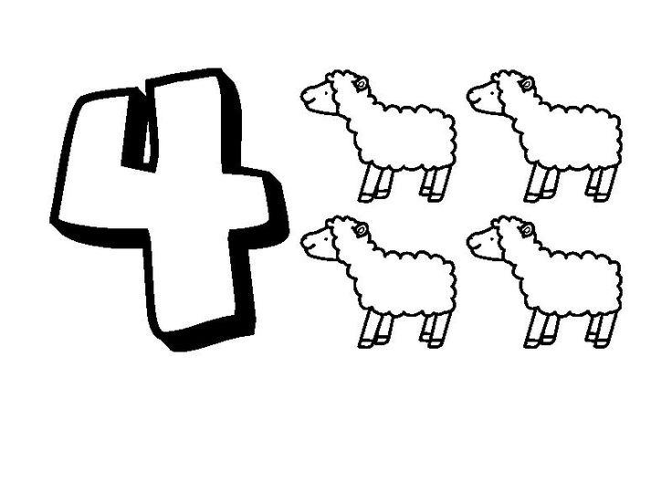 Animal Numbers Four Sheep
