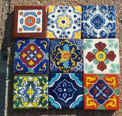 "Mexican Talavera Pottery 2"" Clay Tile Hand Painted Wall Folk Art"