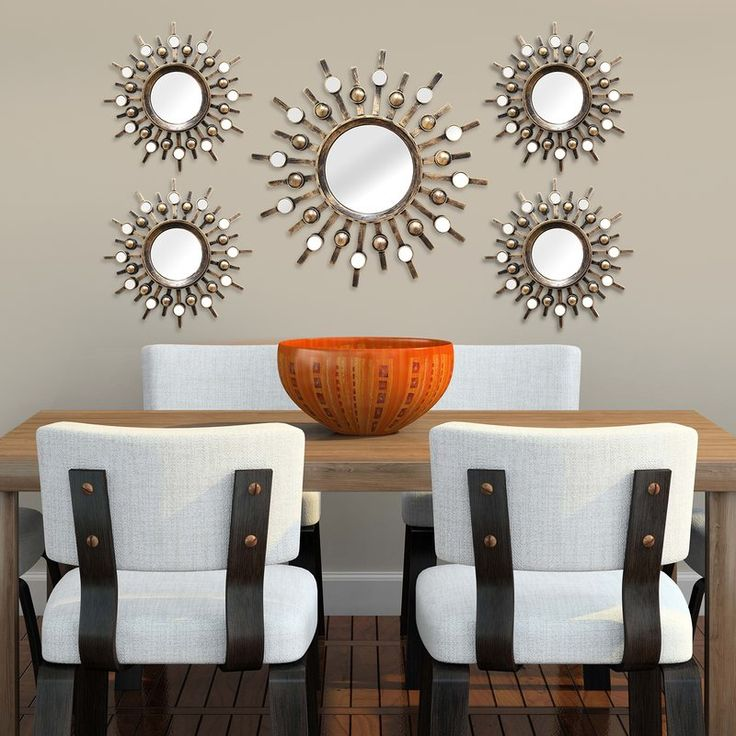 5 Piece Sunburst Mirror Set Mirror Wall Living Room Home Decor Sets Mirror Wall Decor