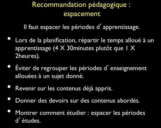 Rrecommandations pédagogiques selon les neurosciences