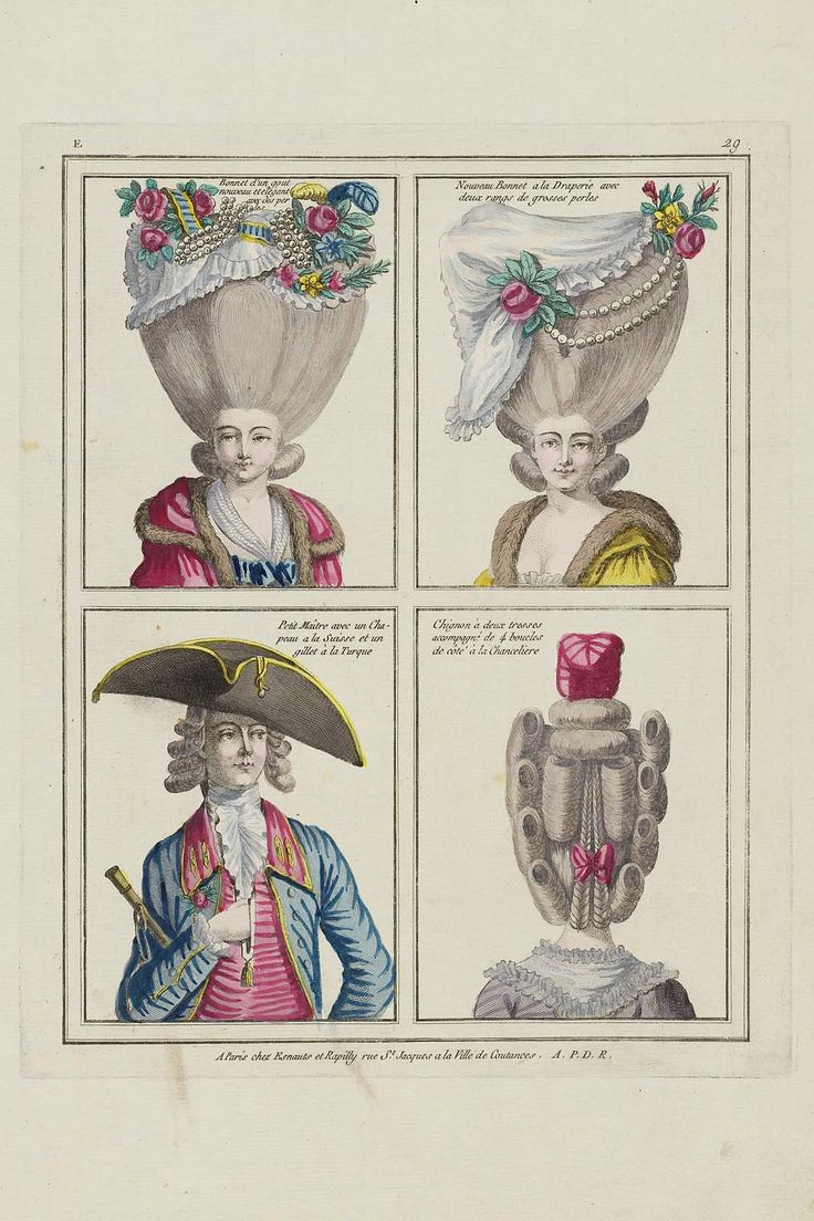 Bonnet d'un gout nouveau et élégant avec des perles, Nouveau Bonnet a la Draperie avec deux rangs de grosses perles, Petit Maître avec un Chapeau a la Suisse et un gillet à la Turque, Chignon à deux tresses accompagné de 4 boucles de côté à la Chanceliere