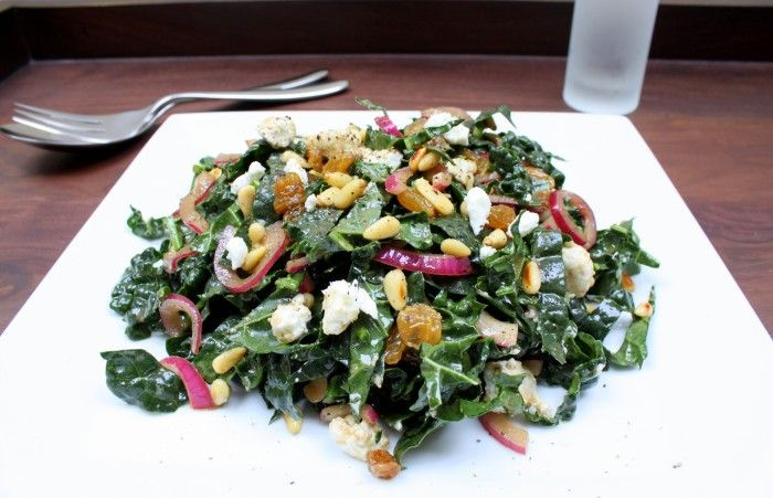Kale, pine nuts, golden raisins, goat cheese, and onion w/balsamic ...