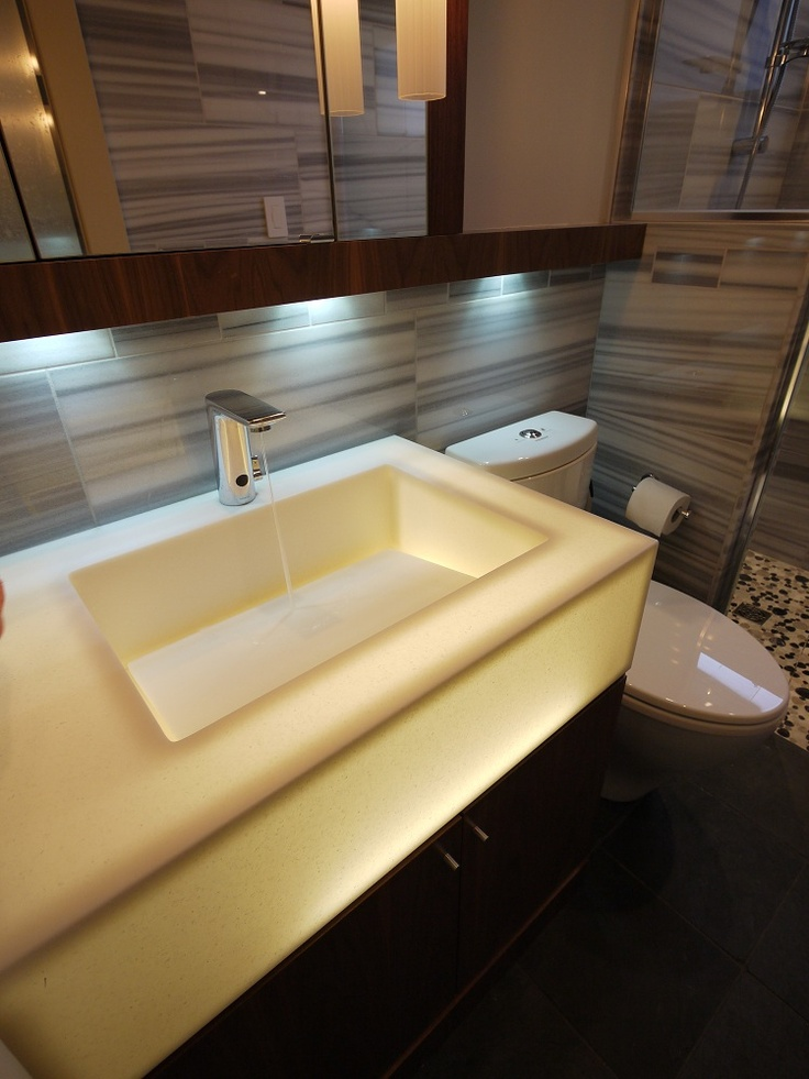 glowing translucent corian sink