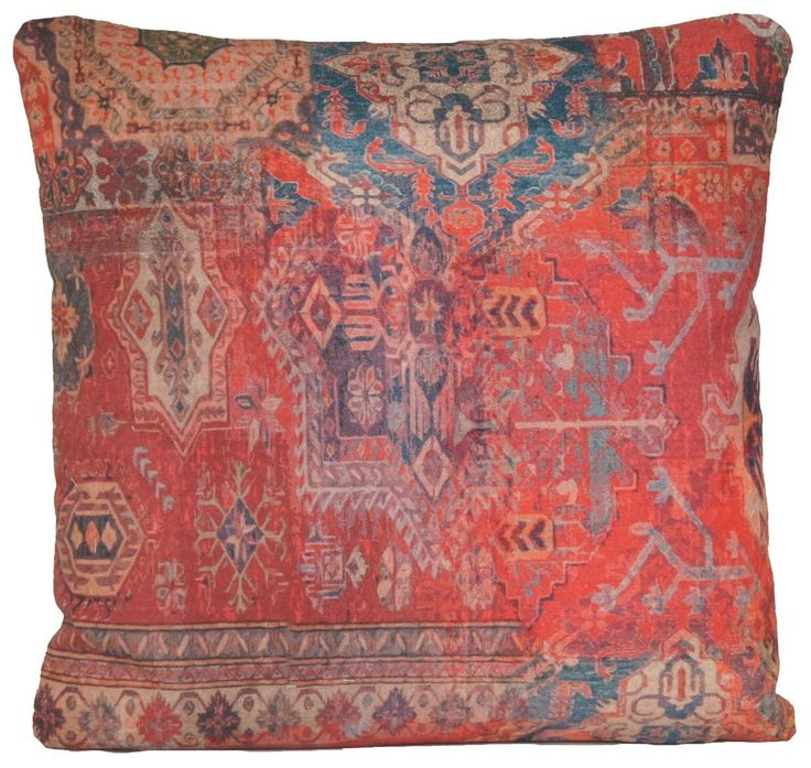 Red Cushion Cover Ethnic Rug Square Throw Pillow Case Design Kilim Morrocco Oriental Style Printed Cotton Fabric Rusty Orange by CoralHomeAccessories on Etsy https://www.etsy.com/listing/192101578/red-cushion-cover-ethnic-rug-square