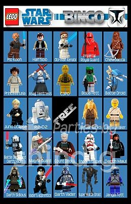 Must have for Austin's 8th birthday party! Lego Star Wars bingo printable!