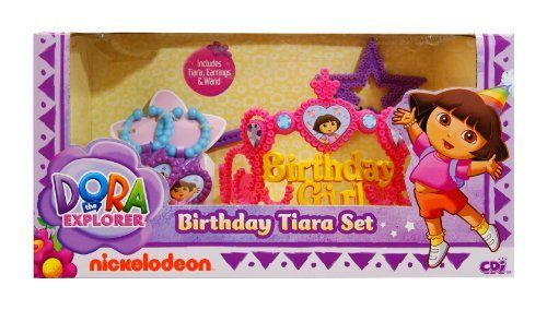 Dora Birthday Set by Dora The Explorer. $19.99. From the Manufacturer                Celebrate with Dora's Birthday set. It includes a beautiful tiara and wand to make everyday adventures extra special. And it also comes with Dora's personalized earrings so you can accessorize your outfit. For ages 3+ years.                                    Product Description                Cool Dora Dress up Games for Girls Only - Dora birthday set with wand and tiara