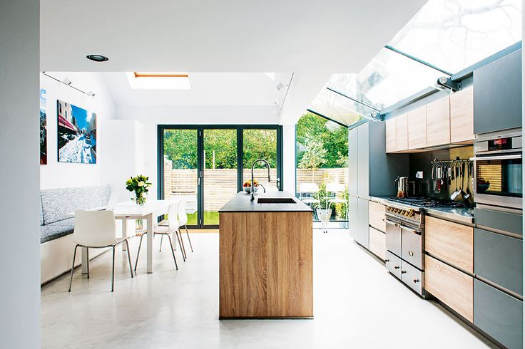 Glass-roof kitchen extension - this is so light! Love the idea!