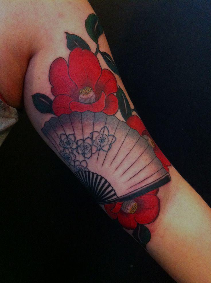 tsubaki with japanese fan | free hand work by Gakkin,kyoto. … | Flickr - Photo Sharing!