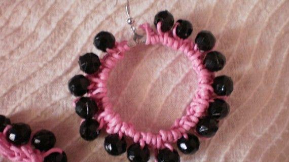 Crochet pink earrings /summer /  spring / by KaterinakiJewelry