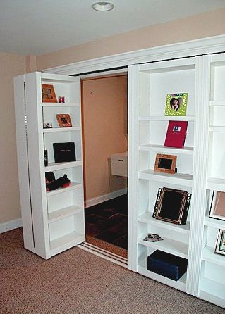 Bi-Fold Closet Doors Disguised as Bookshelves - For the Office.