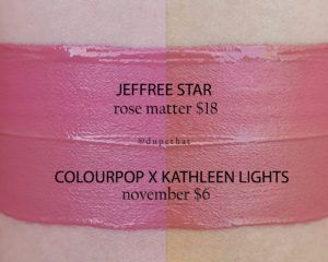 Jeffree Star Rose Matter vs Colourpop x Kathleen Lights November
