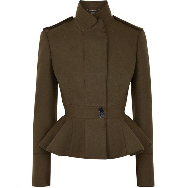 Womens Smart Jackets Alexander McQueen Army Green Wool Jacket (€2.035) ❤ liked on Polyvore featuring outerwear, jackets, field jacket, olive green field jacket, military peplum jacket, brown military jacket i wool jacket