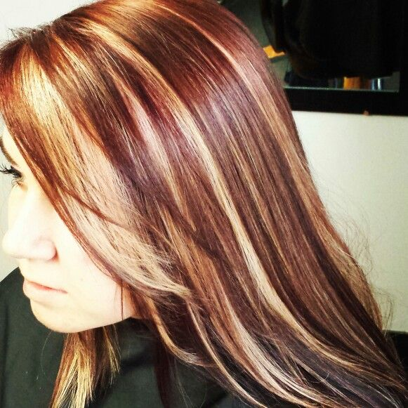 red with blonde peekaboo highlights - using Lanza