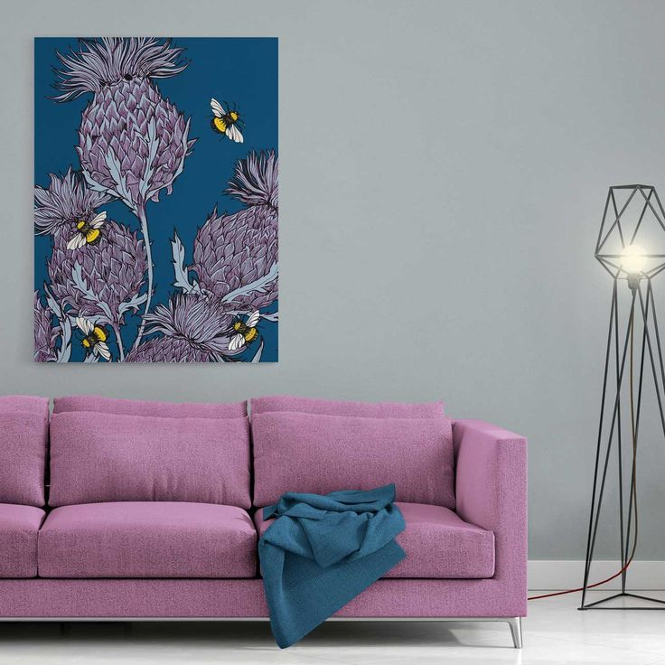 Scottish thistles canvas print in indigo by Gillian Kyle. A beautiful, ready to hang stretched canvas print of Gillian's bold but intricately drawn thistles in beautiful indigo and purples. Makes a vibrant Scottish statement in any room!