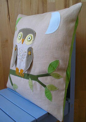 hoot, hoot, hooray - pillow cover by krakracraft, via Flickr