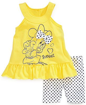 Nannette Baby Girls' 2-Piece Minnie Mouse Top & Shorts Set