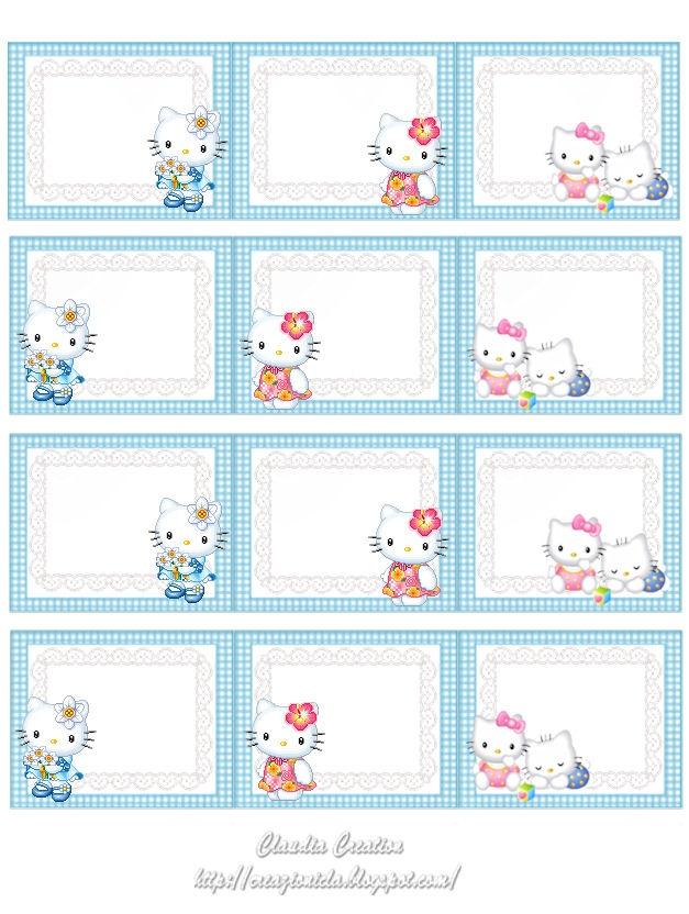 de jolies étiquettes Hello Kitty !... à placer sur vos créations, ou vos cadeaux, pour étiqueter livres et cahiers, ou des boîtes et petits rangements... vous leur trouverez bien des utilisations... vous trouverez sur ce site 4 autres planches où figure cette adorable chatonne !...